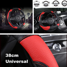 Car Steering Wheel Cover Black&Red Stitching Leather Anti-slip Universal 38cm