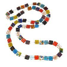 "VTG Retro Style 47"" Long Square Millefiori Art Glass Beads Multi-Color Necklace"