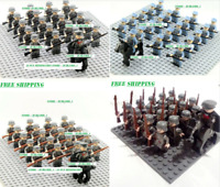 21pcs Minifigures Lego MOC WW2 Military Horse Soldier US Britain Army Weapon Toy