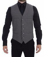 NWT $620 DOLCE & GABBANA Gray Cotton Slim Fit Button Front Dress Vest s 48 / M
