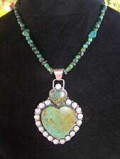 XL Sterling Southwestern Green Turquoise Pearl Heart Pendant Necklace~Dan Dodson