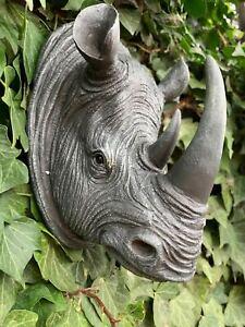 Hanging Rhinoceroses Rhino Head Wall Ornament Firplace indoor outdoor decor Gift
