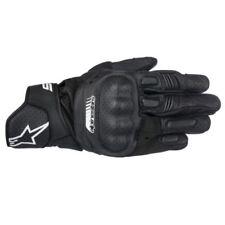 Guanti nero pelle sintetica con protezione palmo per motociclista