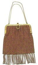 New listing Vintage Victorian Micro Beaded Fringe Purse. Geometric Diamond Tapestry Handbag