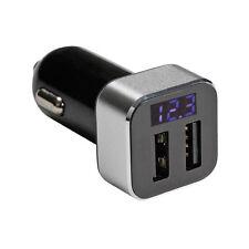 CARICABATTERIA  CARICA TELEFONO DA AUTO CON DOPPIA USCITA USB E DISPLAY LCD