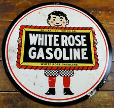 """White Rose Gasoline Enarco Motor Oil Gas Station Style 14"""" Round Metal Adv Sign"""