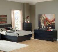 Black 3 Piece Full Platform Bed Furniture Set Bedroom Home Living Two Dressers