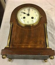 An Edwardian Mahogany Mantel Clock Brass Pillars Inlayed Satinwood Japy Freres
