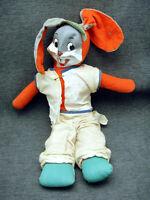 Vintage Bugs Bunny Baseball Uniform Celluloid Face Plush Doll MH Novelty