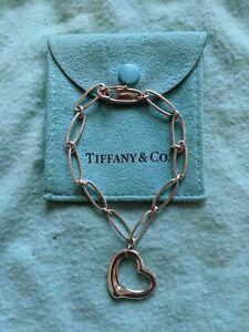 """Tiffany & Co. Silver Elsa Peretti Open Heart Paper Clip Link Bracelet 7"""""""