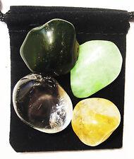 BLADDER AID Tumbled Crystal Healing Set =4 Stones +Pouch +Description Card