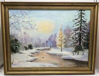"""Vintage Original Oil Painting Winter Landscape Signed SEBS 21"""" x 27"""""""