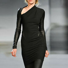 New Womens Ladies Cool Stylish Irregular Leather Long Sleeve Bodycon Midi Dress