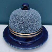 Vintage British Bobby Helmet Blue Ceramic Round Butter Cheese Doom Dish With Lid