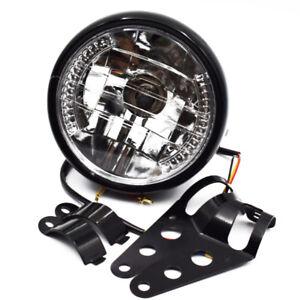 "Universal 7"" Motorcycle Headlight LED Turn Signal Light Black Bracket Mount Best"