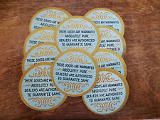 (10) 1920s Absolutely Pure Product Warranted Goods Round Jar Labels Unused
