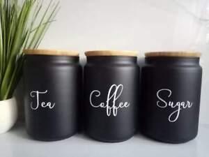 Mrs Hinch inspired storage jars tea coffee sugar black natural bamboo any colour