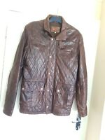 HELIUM REAL LEATHER BROWN JACKET SIZE XL CONDITION USED