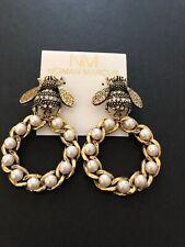 Yochi Gold Plated Earrings Bee Pearls Rhinestone $118
