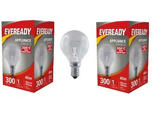 2 x Eveready Oven Bulb 40W Golf SES E14 Oven Appliance Bulb Up To 300 Degrees