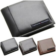 Tommy Hilfiger Classic Men's Bifold Leather Passcase Wallet Black Brown Tan