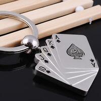 Poker Key Chain Men Male Personality Metal Key Chains Key Rings Keyrings US