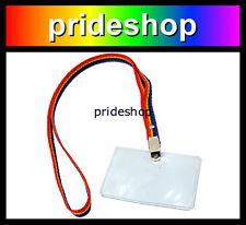 Rainbow Nylon Work Lanyard Strap Cord With Card Holder Lesbian Gay Pride #611