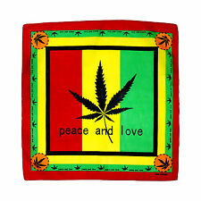 Peace & love marijuana weed pot leaf stoner coton bandana