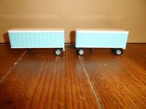 CONCOR HO SCALE CUSTOM PAINTED TWIN PUP TRAILER WITH DOLLY  LIGHT BLUE AND WHITE