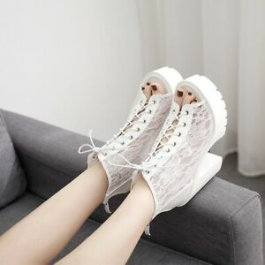 Womens High Heels Lace Peep Toe Block Sandals Fashion Ankle Strap Platform Shoes