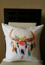 """Beautiful Boho Vibrant Steer Skull Feathers Floral Throw Pillow Cover 18"""" US SLR"""