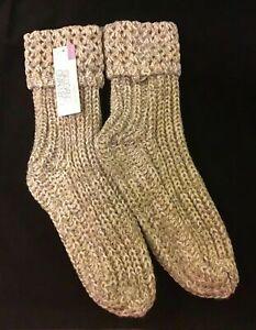 Gilligan & O'Malley™ Woven Slipper Socks - Almond & Cream - One Size - New