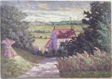 Tableau Petite Huile Sur Panneau L.His Paysage Campagne Meule De Foin 1900 H4