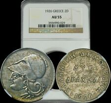 1926 Greece 2D NGC AU 55 Lightly Toned Coin