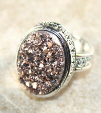 SILVER Vintage Style Copper Rainbow Titanium Druzy 15x20mm Ring Size 6
