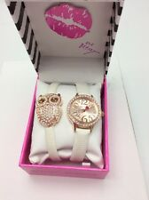 $69 Betsey Johnson Women's White Scrap Watch & Bracelet Owl WB7