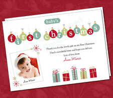 25 x Personalised Photo Thank You Cards Baby's 1st First Christmas Gifts Present
