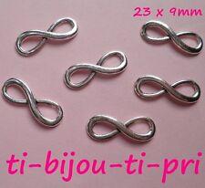 LOT de 24 CONNECTEURS INFINITY INFINI 23 x 8mm ARGENTES bracelets sautoir perles