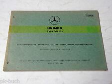 Teilekatalog Spare Parts List Mercedes Benz Unimog Type OM 615 Motor St.09-1969