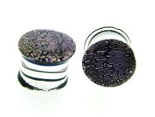 PAIR OF Dichro Pyrex PURPLE 0g 8MM plugs Body Jewelry