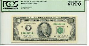FR 2174-H* STAR 1993 $100 FEDERAL RESERVE NOTE 67 PPQ SUPERB GEM NEW