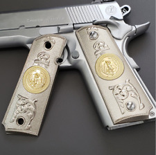 For Colt 1911 Grips Nickel Plated Eagle Full Size 1911 Government, Commander