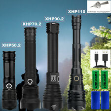 XHP110/90.2/70.2 LED Flashlight Super Bright USB Rechargeable Torch Waterproof