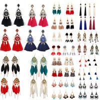 Fashion Rhinestone Long Tassel Dangle Earrings for Women Lady Thread Fringe Drop
