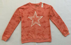 SO Girls Pink Softest Crew Sweatshirt Tie Dye Star Long Sleeve Size XL 14 - 16