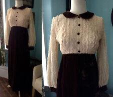 Vtg 1970's velvet maxi wedding dress boho lace Victorian copper peach babydoll