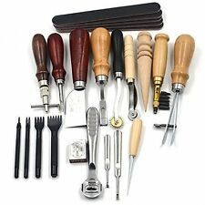 18 Piece Leather Craft Punch Tools Kit Stitching Carving Working Sewing Saddle