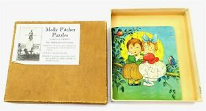 """Antique MOLLY PITCHER PUZZLES """"A Howling Success"""" wooden jigsaw puzzle with box"""