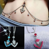 Women Rhinestone Dangle Navel Piercing Belly Button Ring with Waist Chain Surpri