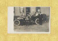 X RPPC real photo postcard 1908-19 era VINTAGE AUTOMOBILE men and women